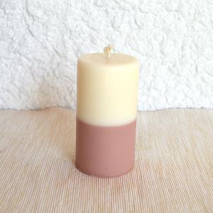 Bougie bicolore parfum massepain et café