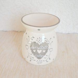 Brûle-parfum pour tartelettes en cire à fondre, blanc et gris.