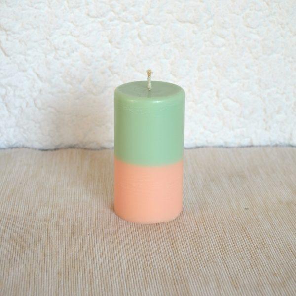 Bougie Bicolore verte et orange parfum chèvrefeuille - pamplemousse