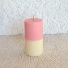Bougie Bicolore rose et jaune Framboise et Poudre de Riz