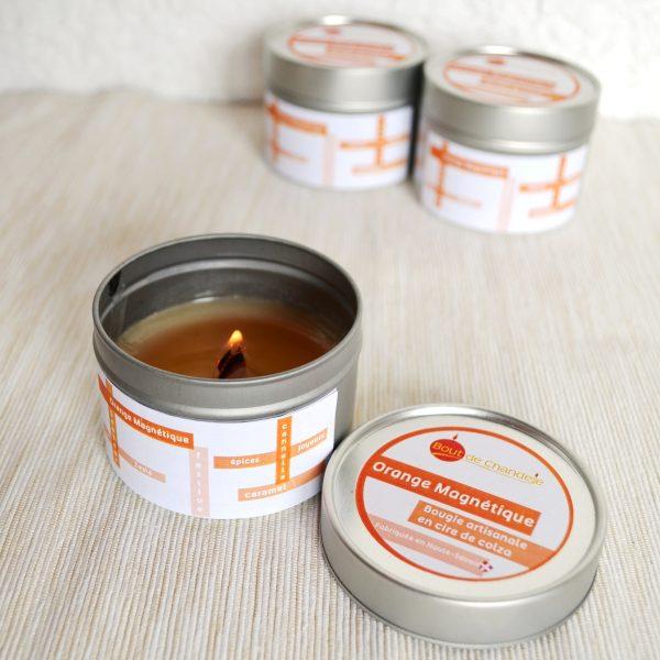Bougie Naturelle Parfum Orange Caramel et Musc