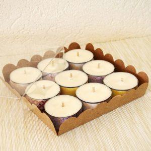 Coffret cadeau 9 bougies naturelles type chauffe plat parfumees