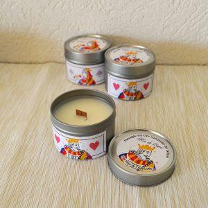 Bougie parfumée naturelle parfum Roi de Coeur : Jasmin, Agrumes, Musc, Ambre